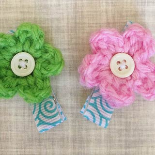 Tiny Little Crochet Flower Hair Clip