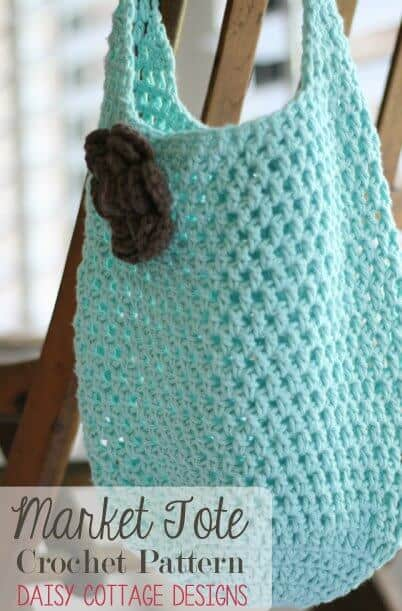 Free Crochet Patterns For Grocery Bags : Free Market Tote Crochet Pattern - Daisy Cottage Designs