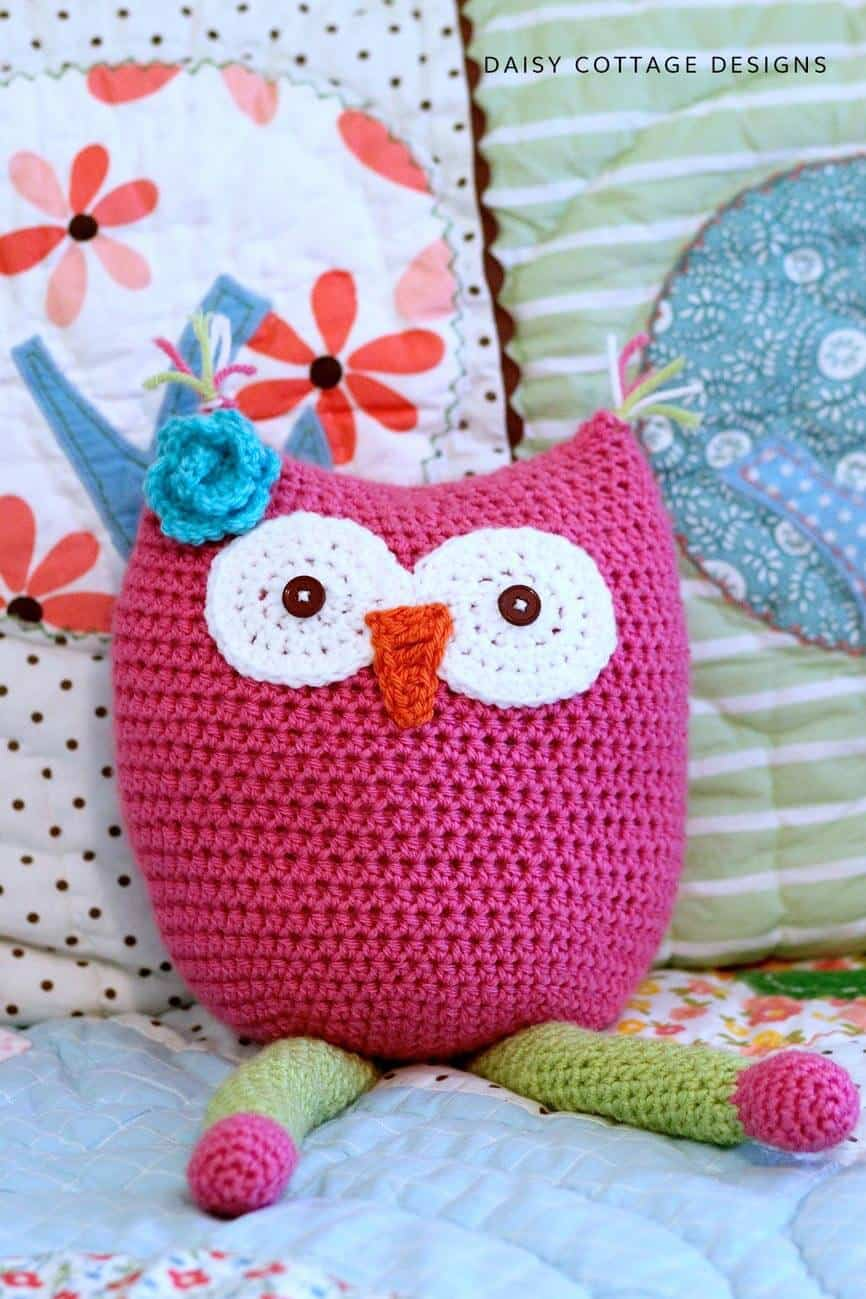 pink and green owl crochet pattern