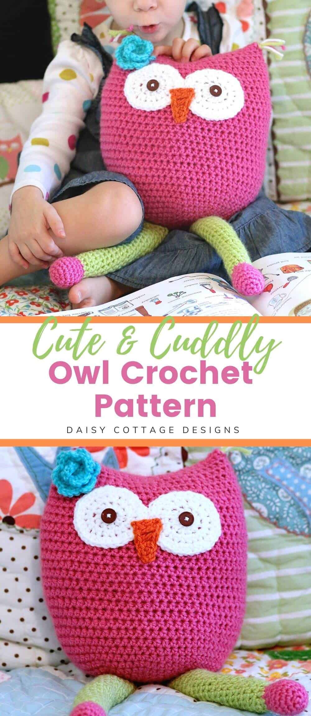 Use this owl toy crochet pattern to create a beautiful cuddle buddy. This quick and easy crochet pattern can be made in just a few hours.