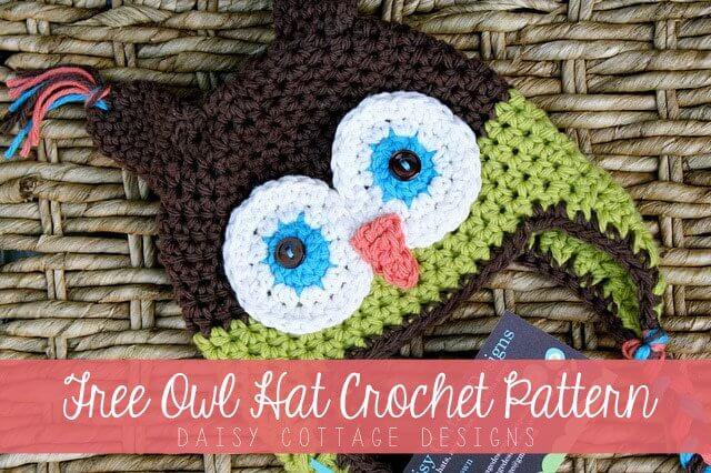 Free Owl Hat Crochet Pattern - Daisy Cottage Designs