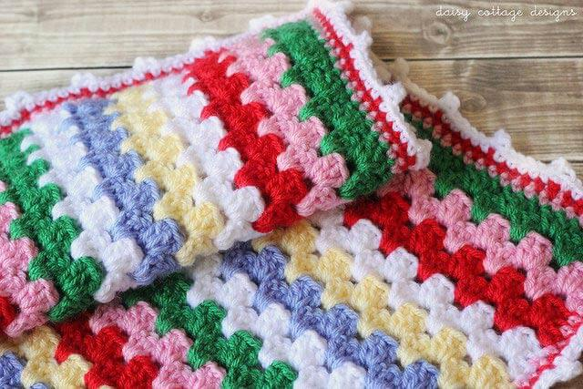 Free Crochet Pattern Granny Stripe Blanket Tutorial Daisy Cottage Designs