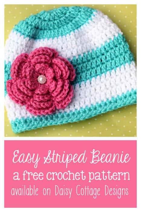Fun & Easy Striped Beanie Crochet Pattern - Daisy Cottage Designs