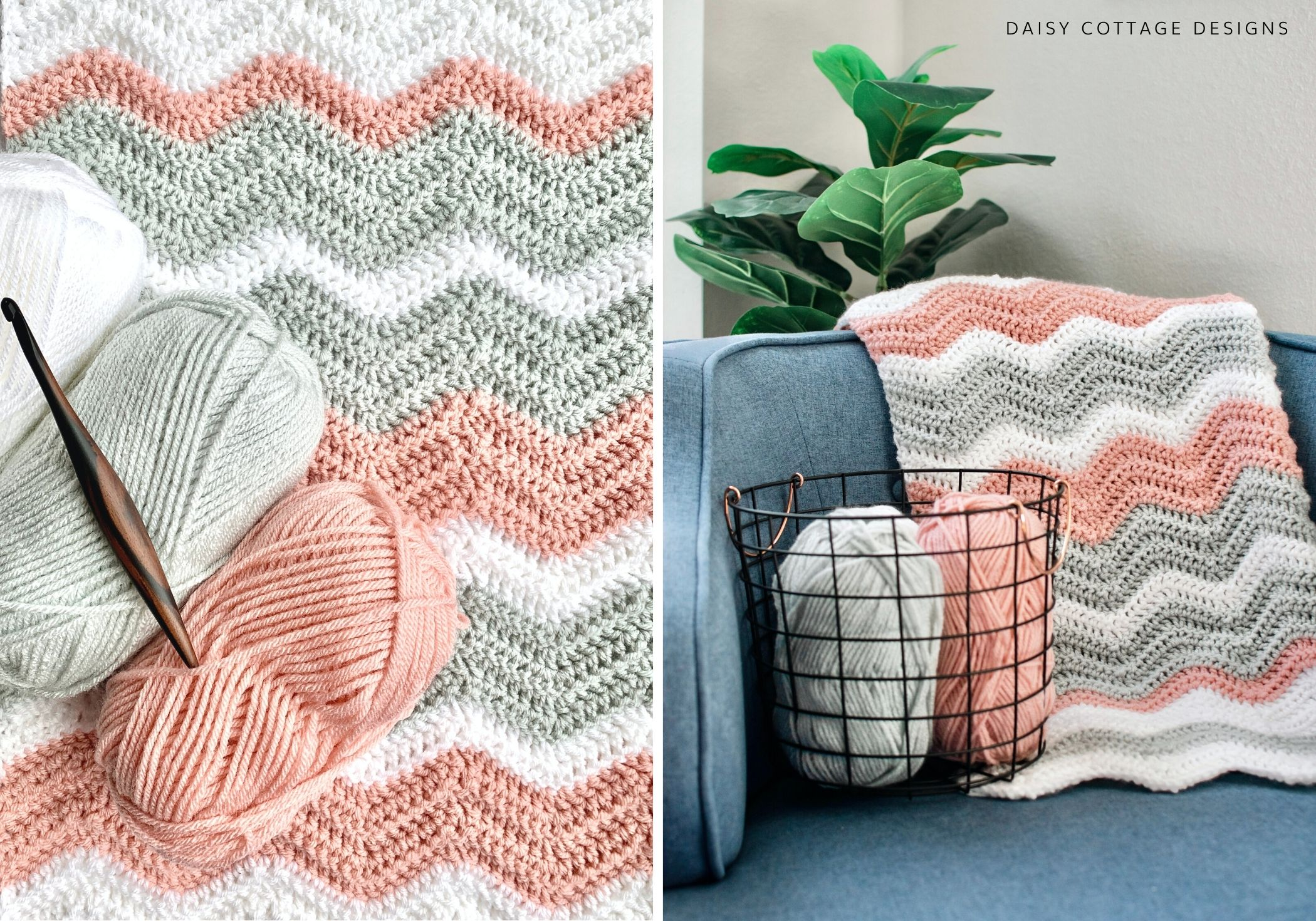 Free Crochet Baby Patterns For Blankets : Ripple Blanket Crochet Pattern - Daisy Cottage Designs