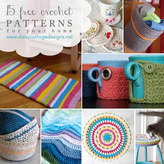 15 Free Crochet Patterns for the Home - Daisy Cottage Designs