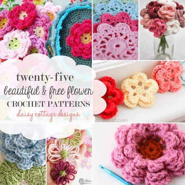 25 Free Flower Crochet Patterns - Daisy Cottage Designs