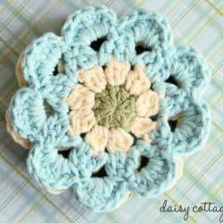 Crochet Coasters Set – Japanese Flower Motif