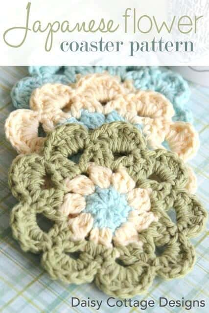 Use this free crochet pattern from Daisy Cottage Designs to make a set of crochet coasters. Protect your coffee table in style!