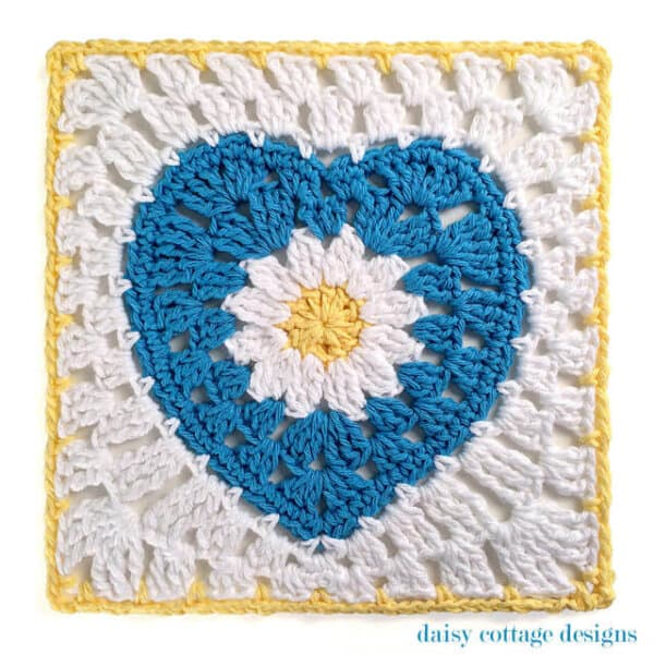 10″ Crochet Square with Daisy Center