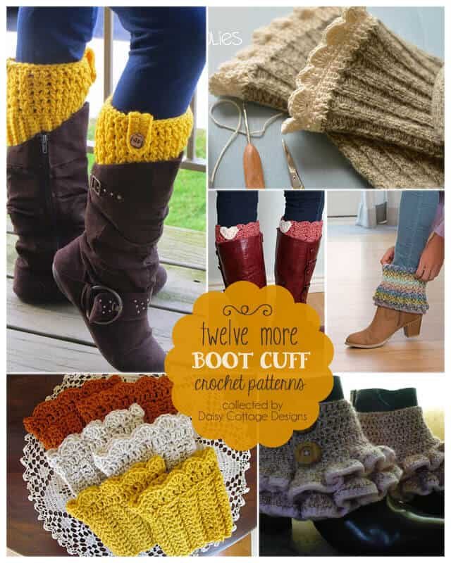 12 Boot Cuff Crochet Patterns from Daisy Cottage Designs. Use these free crochet patterns to whip up a par of boot cuffs for yourself or a friend.
