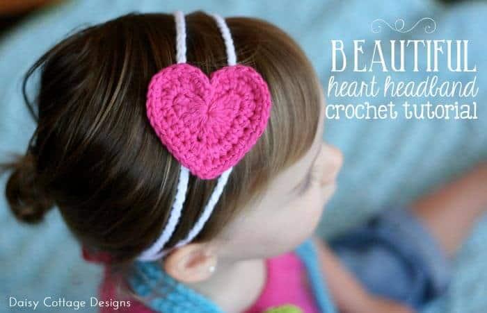 Easy Heart Headband Free Crochet Pattern Daisy Cottage Designs