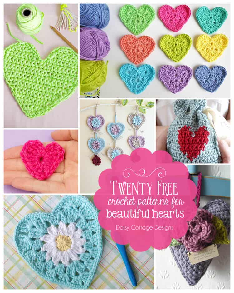 Crochet heart pattern collection from Daisy Cottage Designs. These free crochet patterns are perfect for Valentine's day and all through they year.
