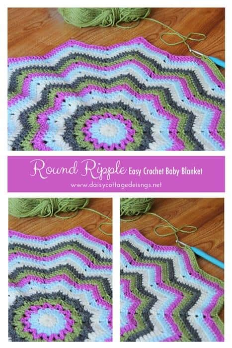 Round Ripple Baby Blanket Crochet Project Daisy Cottage Designs