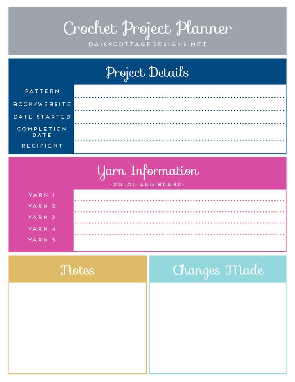 Crochet Project Planner Daisy Cottage Designs – Project Planners