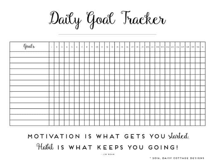 photograph relating to Habit Tracker Free Printable identified as Each day Practice Tracker: A Printable Purpose Tracker - Daisy