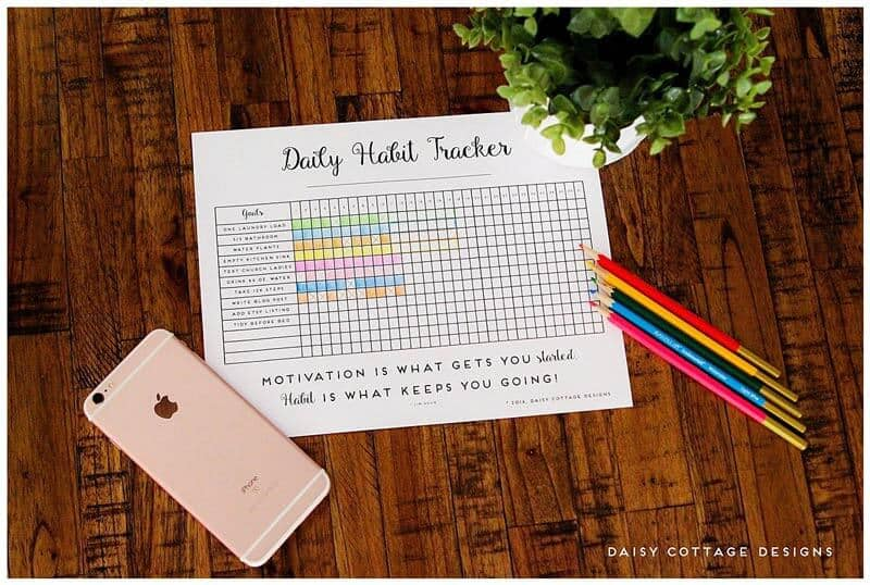 graphic regarding Daily Habit Tracker Printable known as Every day Pattern Tracker: A Printable Purpose Tracker - Daisy