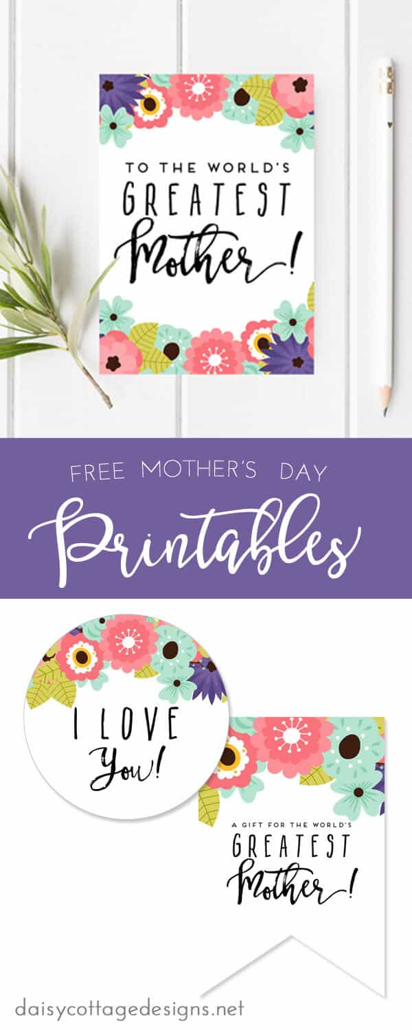 graphic relating to Free Printable Mothers Day Tags called Printable Moms Working day Card Tags - Daisy Cottage Ideas