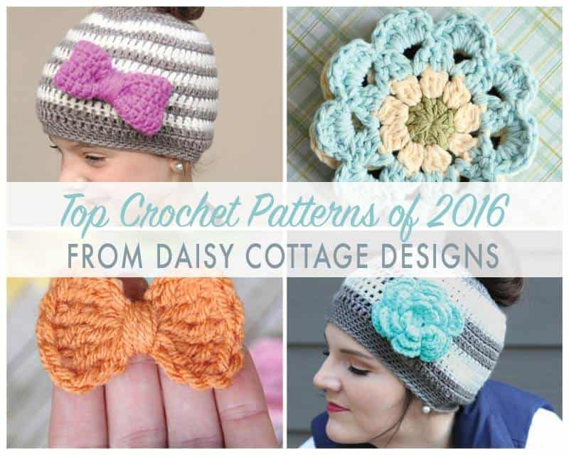 The Best Free Crochet Patterns from Daisy Cottage Designs in 2016. From messy bun hats to flowers and everything between!