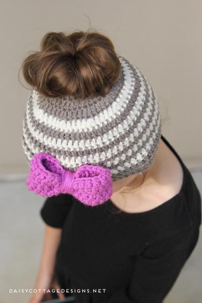 Kids Messy Bun Hat Crochet Pattern Daisy Cottage Designs