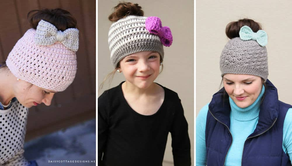 98190394bc884a Other Messy Bun Free Crochet Patterns: Kids Messy Bun Crochet Hat Pattern  ...