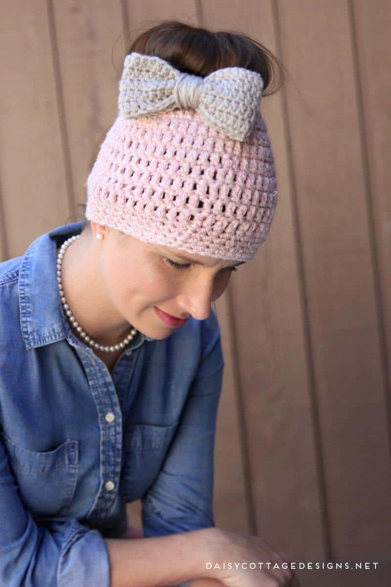Crochet Patterns Messy Bun Beanie : Chunky-Messy-Bun-Crochet-Beanie-Pattern - Daisy Cottage Designs
