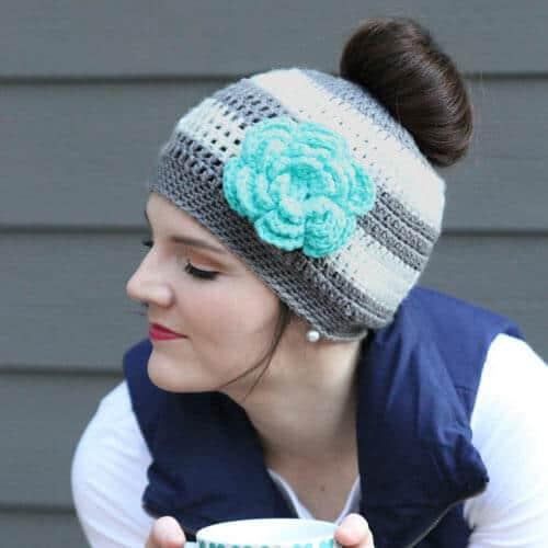 Ponytail Hat Crochet Pattern/Messy Bun Hat Pattern
