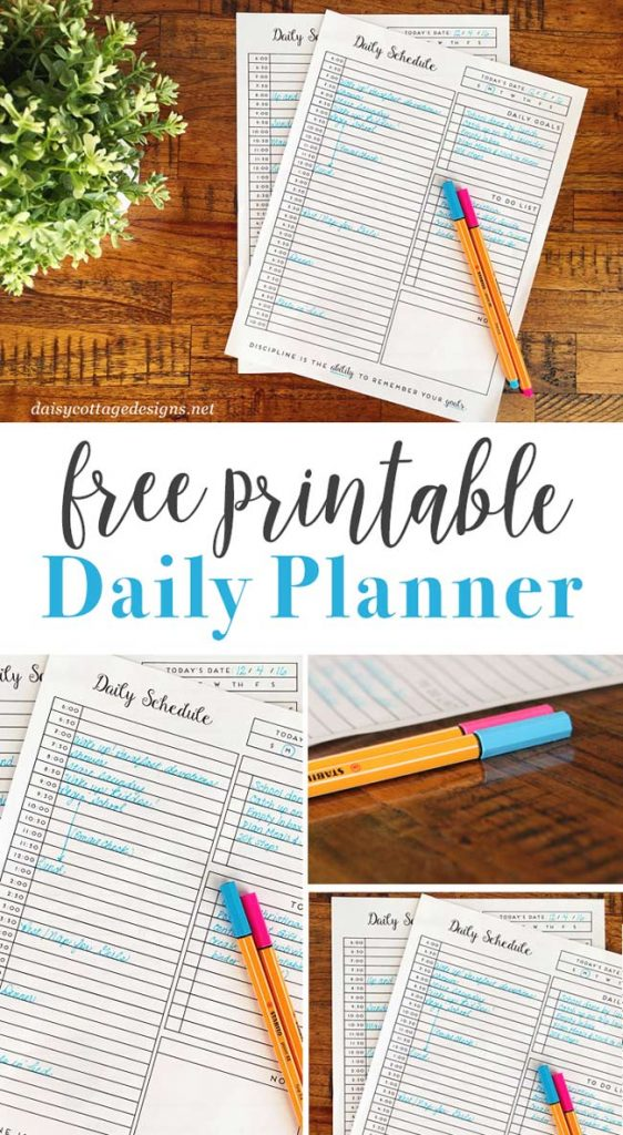 Use this free printable daily planner from Daisy Cottage Designs to organize your life in the new year! Stay motivated and get things done in 2017.