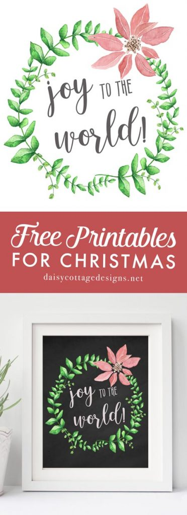 This Joy to the World Printable is the perfect way to decorate your home this Christmas. Use this Daisy Cottage Designs Christmas printable on your mantle or wall.
