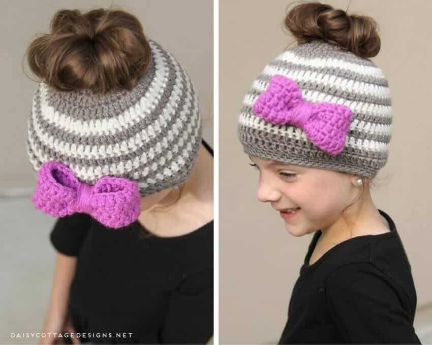 9aecbc40f876 Learn how to make this adorable messy bun hat crochet pattern for kids!  It's quick