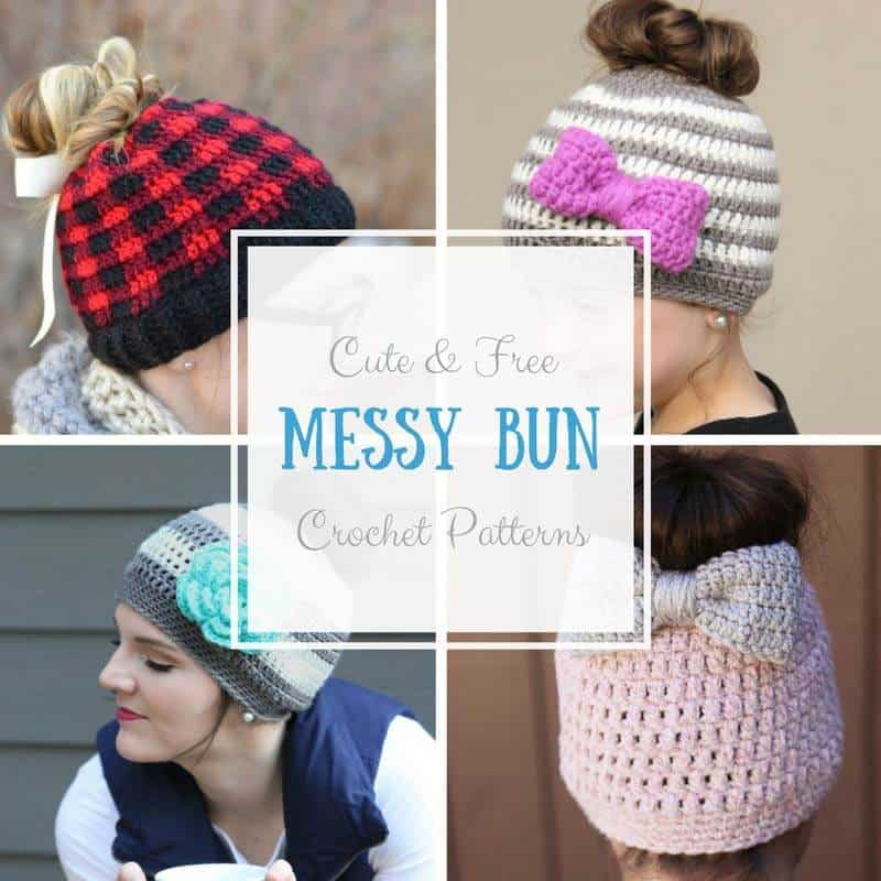 Messy Bun Crochet Hat Patterns - Daisy Cottage Designs
