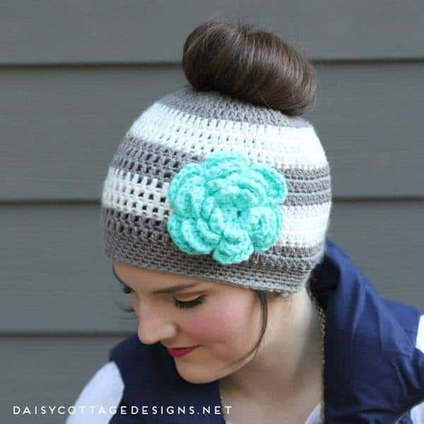 Crochet Messy Bun Hat : Ponytail Hat Crochet Pattern/Messy Bun Hat Pattern - Daisy Cottage ...
