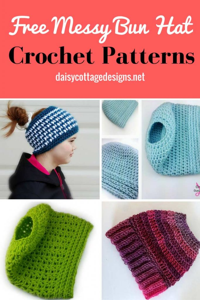 free messy bun hat crochet patterns are the hottest thing in crochet ...