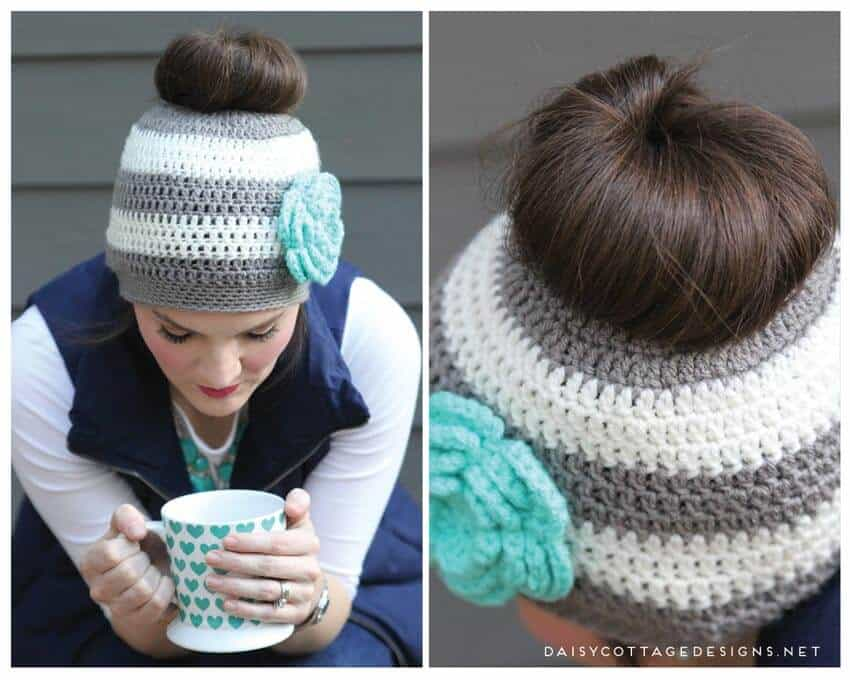 Ponytail Hat Crochet Pattern (also known as an Easy Messy Bun Crochet Pattern) from Daisy Cottage Designs