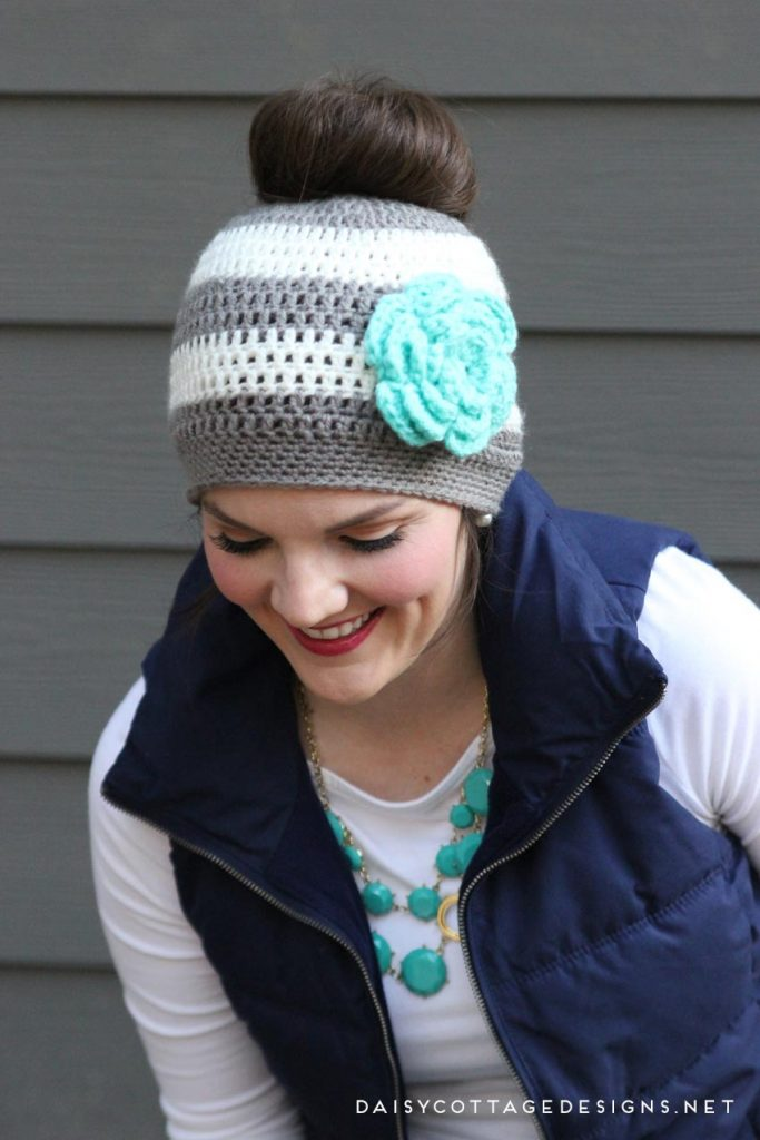 Ponytail Hat Crochet PatternMessy Bun Hat Pattern Daisy Cottage Custom Ponytail Beanie Crochet Pattern