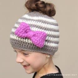 Kids Messy Bun Hat Crochet Pattern