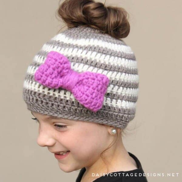 Kids Messy Bun Hat Crochet Pattern