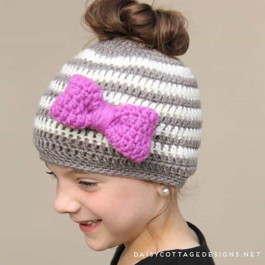 9a203e15618a5 Kids Messy Bun Hat Crochet Pattern - Daisy Cottage Designs