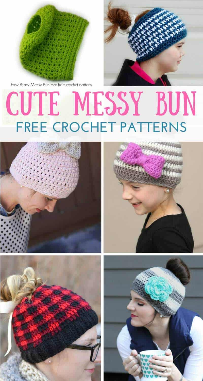 fa8985c290a48 Messy Bun Crochet Hat Patterns - Daisy Cottage Designs
