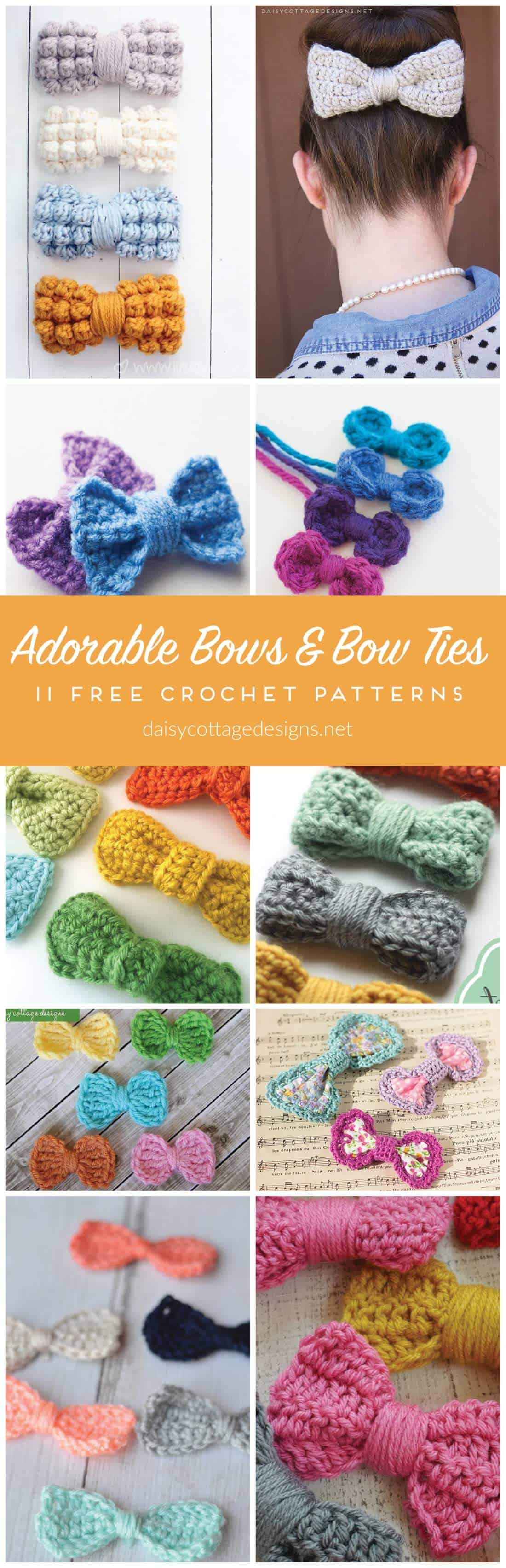 Free Crochet Pattern | Bow Tie Pattern | Crochet Bow Pattern | Use this collection of crochet patterns to make adorable embellishments for any project. From crochet hats to crochet bags, these bow patterns will make your projects look even cuter!