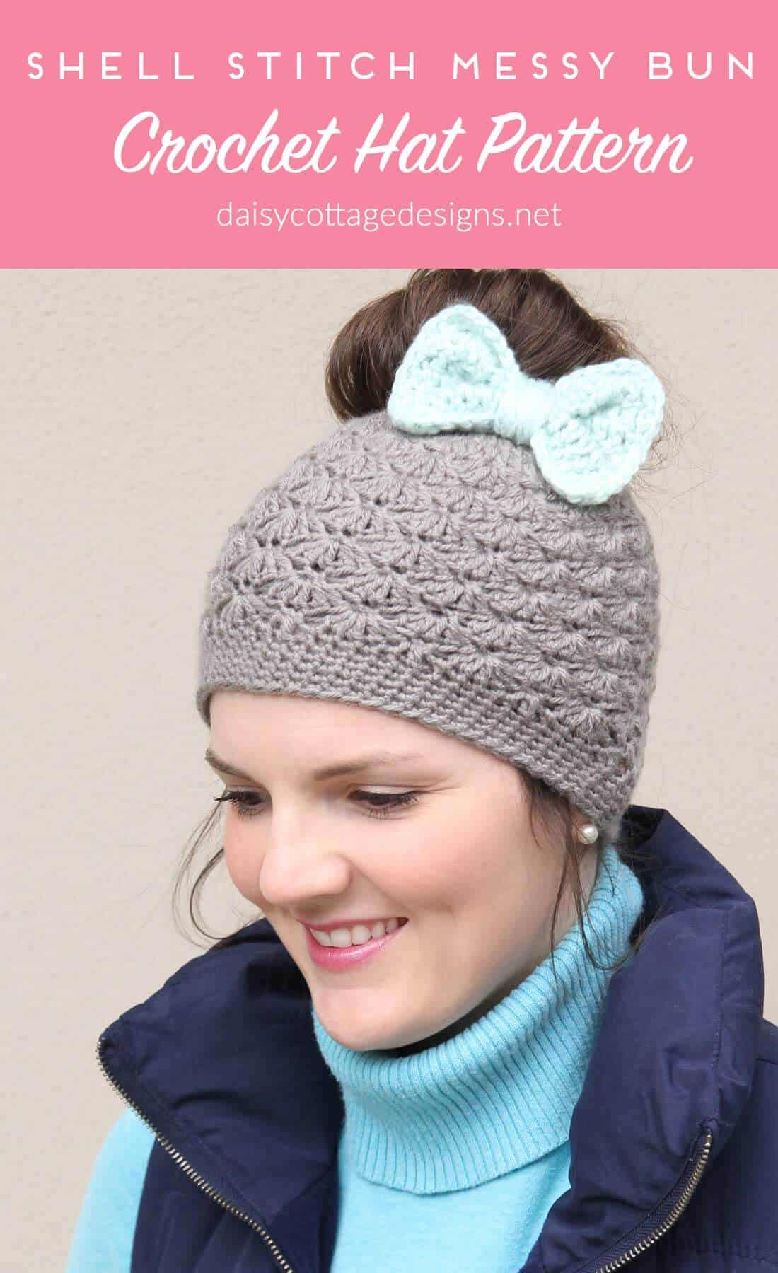 Shell Stitch Messy Bun Crochet Hat Pattern Daisy Cottage Designs