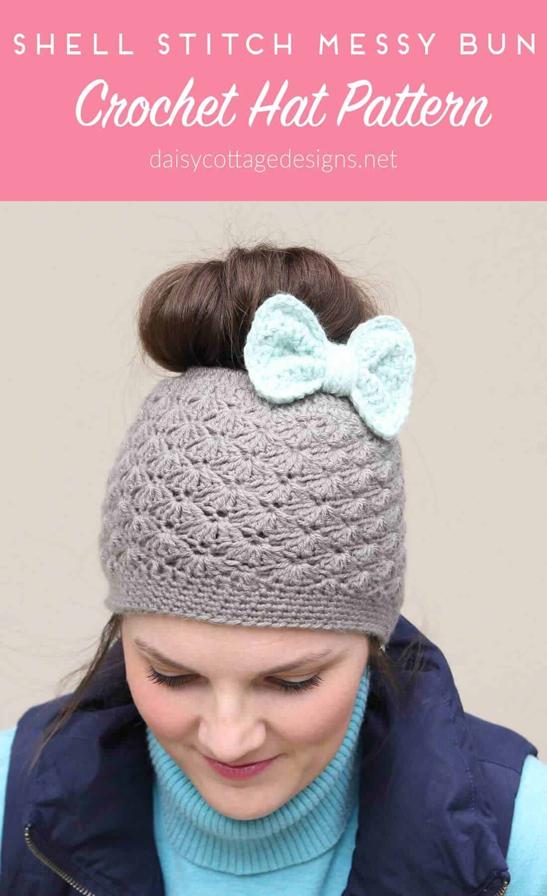 Crochet Messy Bun Hat : Messy-Bun-Hat-Crochet-Pattern-Feature - Daisy Cottage Designs