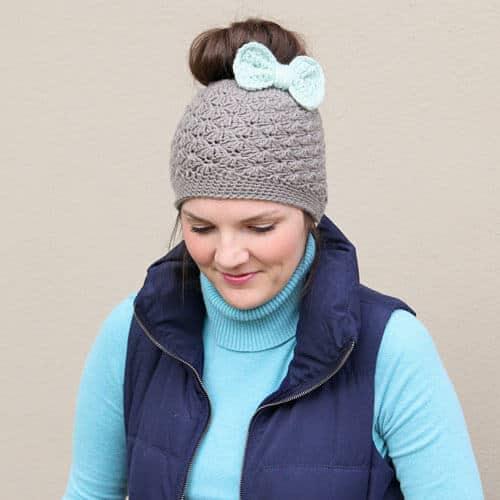 Shell Stitch Messy Bun Crochet Hat Pattern