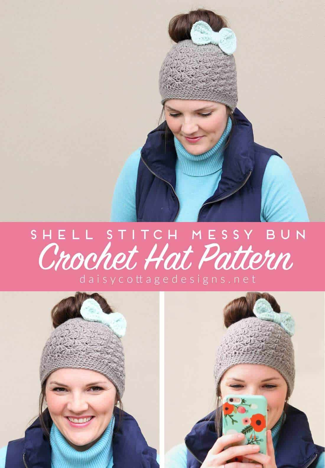 Use this messy bun crochet hat pattern from Daisy Cottage Designs to make this beautiful messy bun hat for you and your friends. Quick and easy to make, this free crochet pattern will be one you go back to over and over again.
