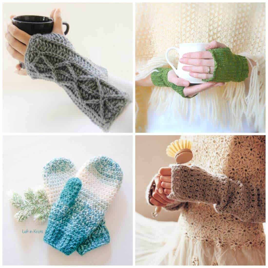 Crochet Fingerless Gloves & Mitten Crochet Patterns - Daisy Cottage ...