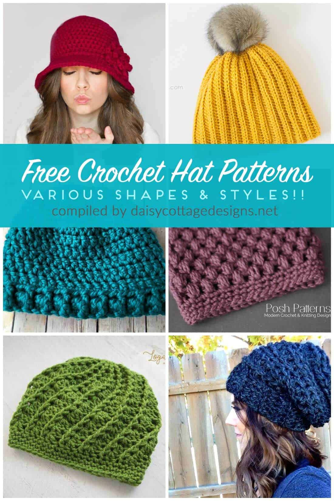 free crochet hat patterns | free crochet patterns | crochet patterns | Use these free crochet patterns to make adorable crochet hats for all the women in your life. From crochet slouchy hat patterns to crochet messy bun patterns, there are hat patterns of all shapes and designs in this collection on Daisy Cottage Designs.