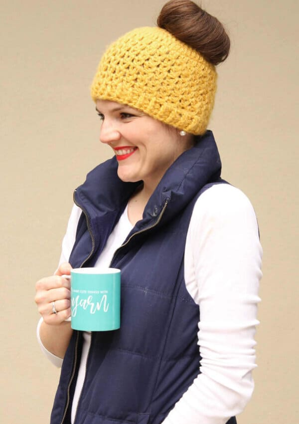 Trendy Messy Bun Hat Crochet Pattern