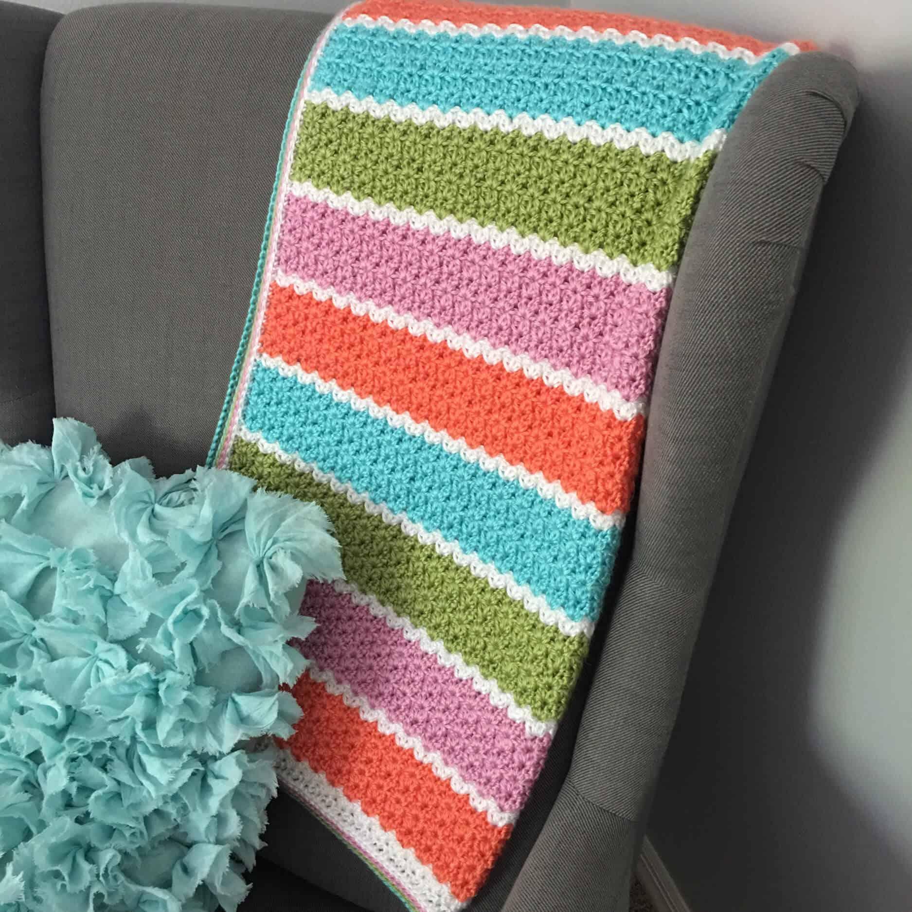 V Stitch Crochet Blanket Free Pattern
