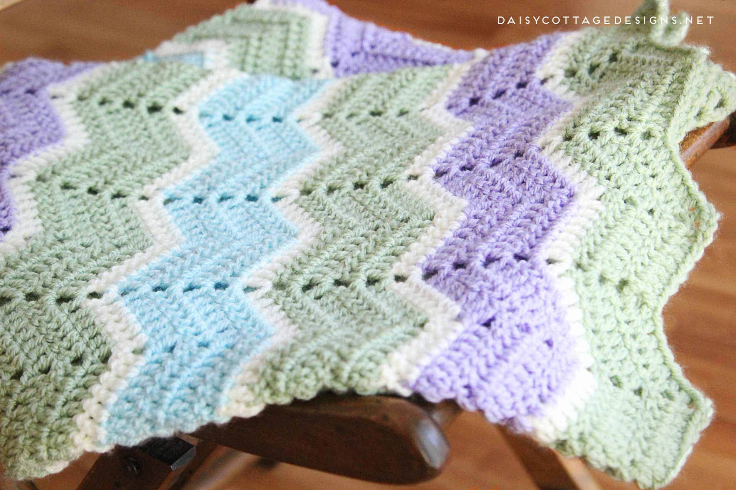 Easy Chevron Blanket Crochet Pattern - Daisy Cottage Designs