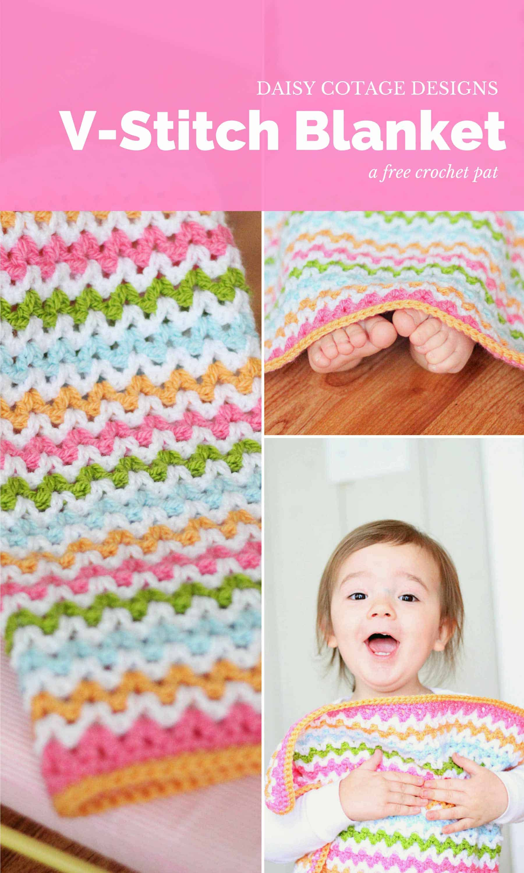 Use this adorable v stitch crochet pattern to create this crochet baby blanket in any size you wish. Free crochet pattern from Daisy Cottage Designs. | baby blanket crochet pattern, easy crochet patter, free crochet pattern, rainbow blanket crochet pattern