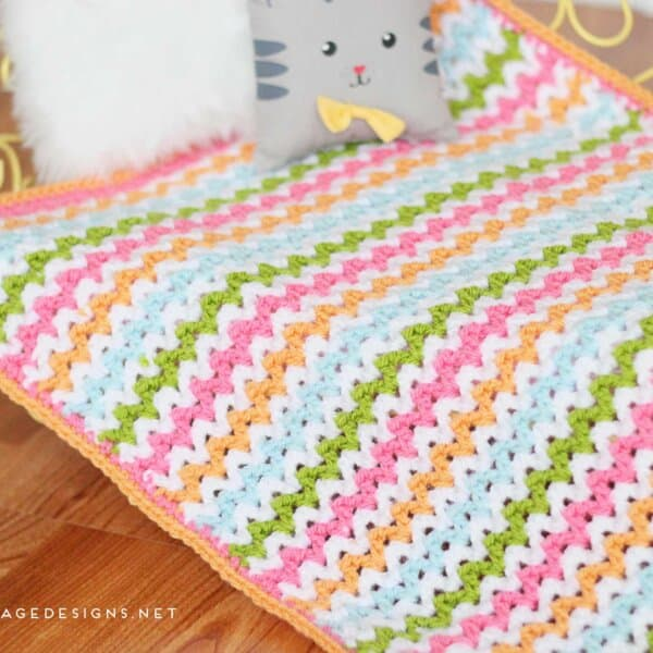 Pretty V-Stitch Blanket Crochet Pattern